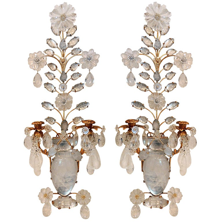 Rock Crystal Wall Sconces : An Elegant Pair Of Rock Crystal and Gilt 2 Arm Wall Sconces In The Style Of Bagues at 1stdibs