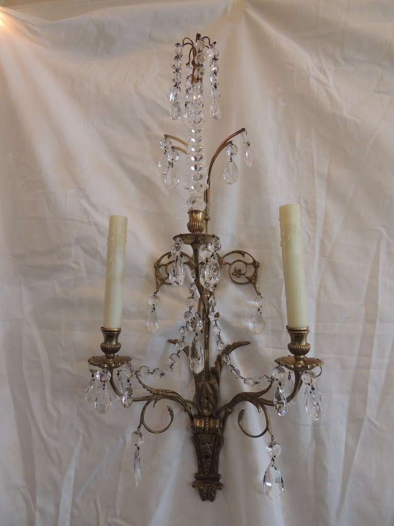 Elegant Pair of French 1920s Baltic Bronze and Crystal Two-Light Wall Sconces 2