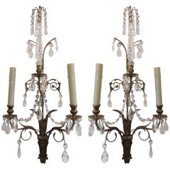 Elegant Pair of French 1920s Baltic Bronze and Crystal Two-Light Wall Sconces