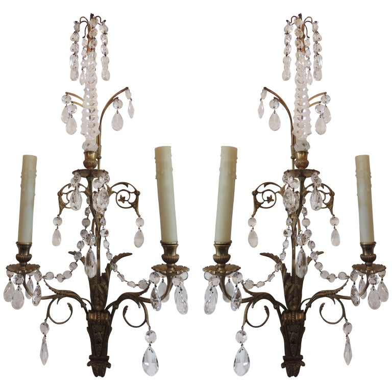 Elegant Pair of French 1920s Baltic Bronze and Crystal Two-Light Wall Sconces 1
