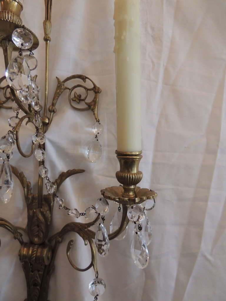 Elegant Pair of French 1920s Baltic Bronze and Crystal Two-Light Wall Sconces 8