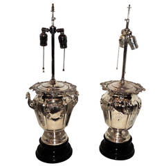 Exceptional Pair of English Silver Plated Champagne Ice Bucket Lamps, Unique