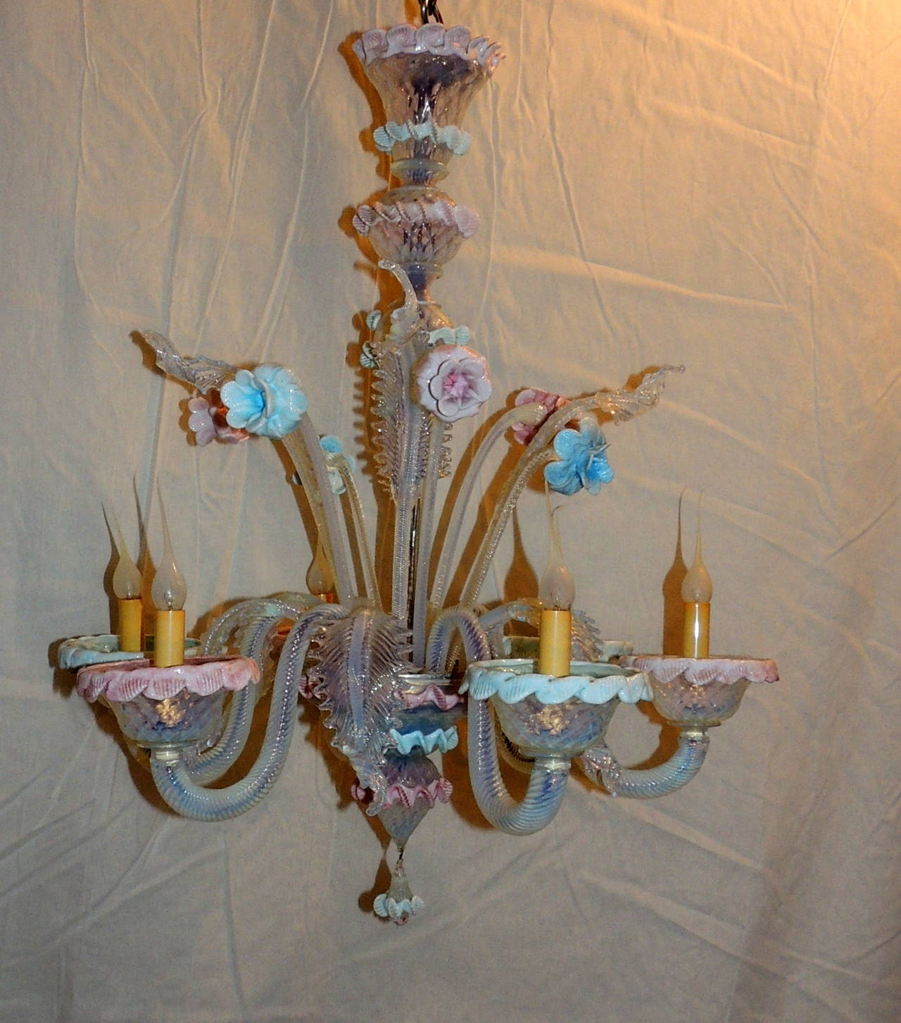 Wonderful vintage murano venetian blown glass pink and blue floral this original venetian glass chandelier is beautifully decorated with whimsical ruffles around the candle cups arubaitofo Choice Image