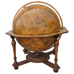 Monumental Vintage World Globe with Celestial Markings in Beautiful Pine Stand