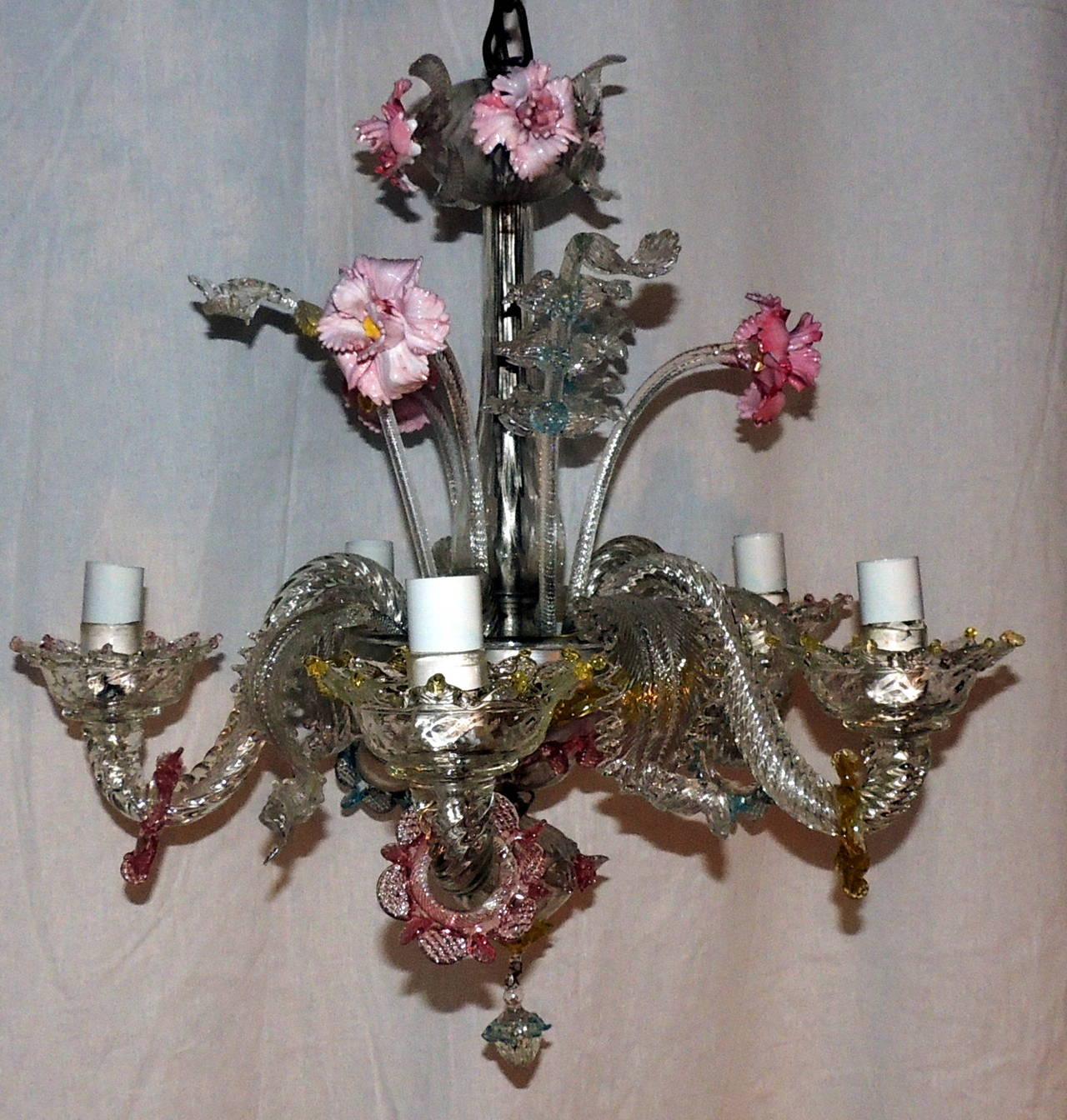 Whimsical murano vintage venetian blown glass five light carnations this original antique venetian blown glass chandelier is beautifully decorated with whimsical soft colors of blue arubaitofo Choice Image
