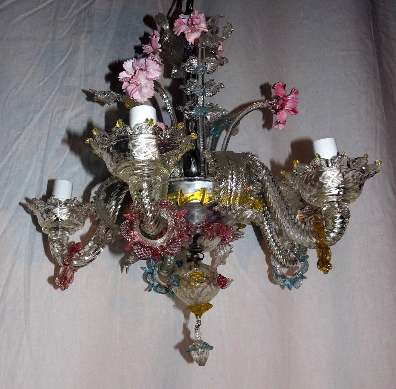 Whimsical Murano Vintage Venetian Blown Glass Five Light