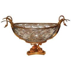 Beautiful French Dore Bronze Elegant Swan Hands & Cut Crystal Bowl Centerpiece