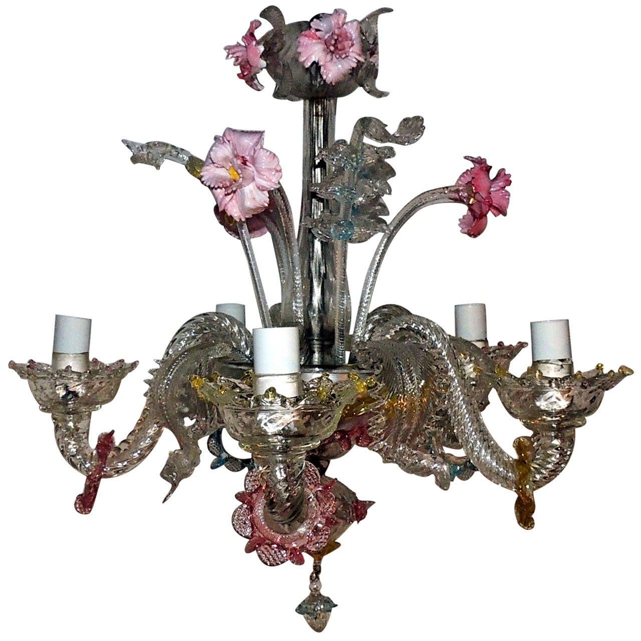 Whimsical Murano Vintage Venetian Blown Glass Five-Light