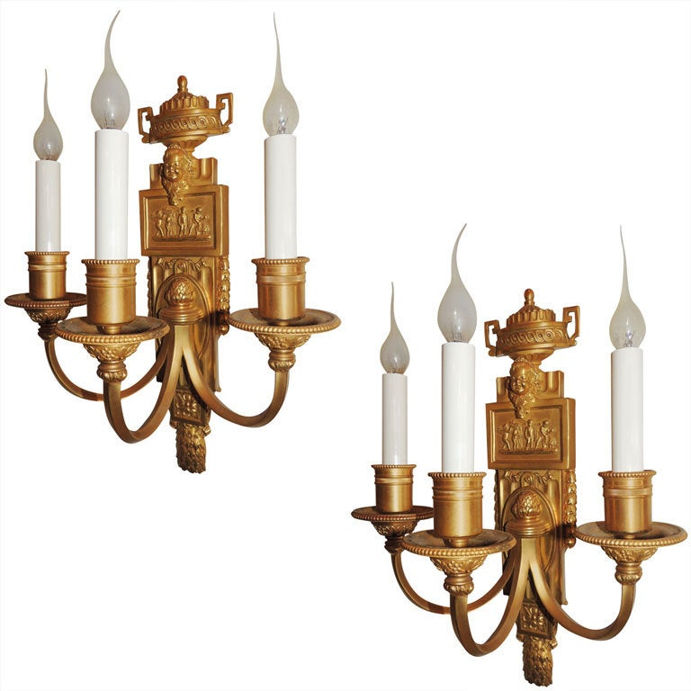 Wonderful Pair of Caldwell Dore Bronze Three-Arm Wall Sconces Putti Urn For Sale