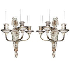 Rare Pair  Caldwell Neoclassical Silvered Bronze three-Arm Bow Top Sconces
