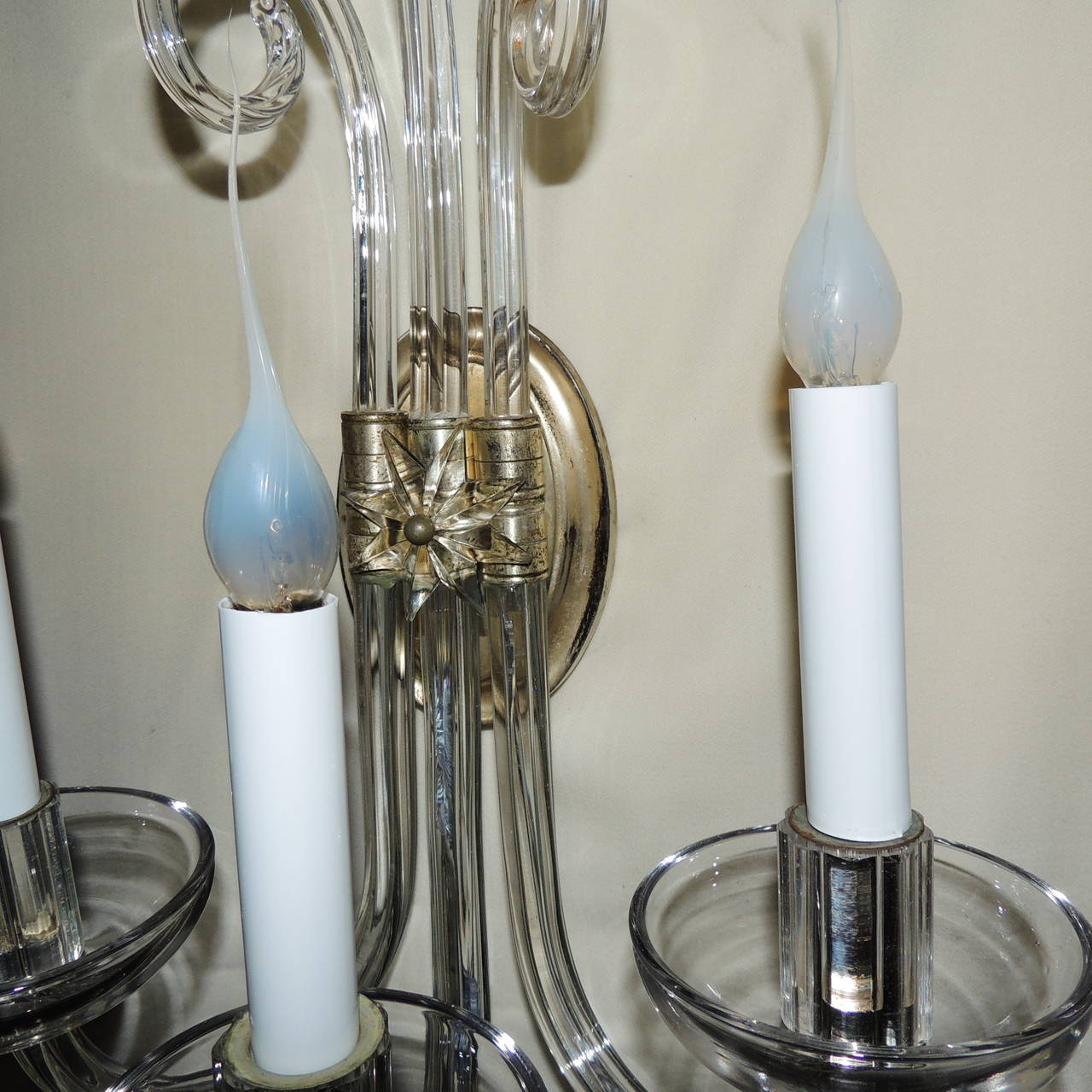 Wonderful Pair Of Modern and Transitional Vintage 3 Arm Crystal Glass Wall Sconces at 1stdibs