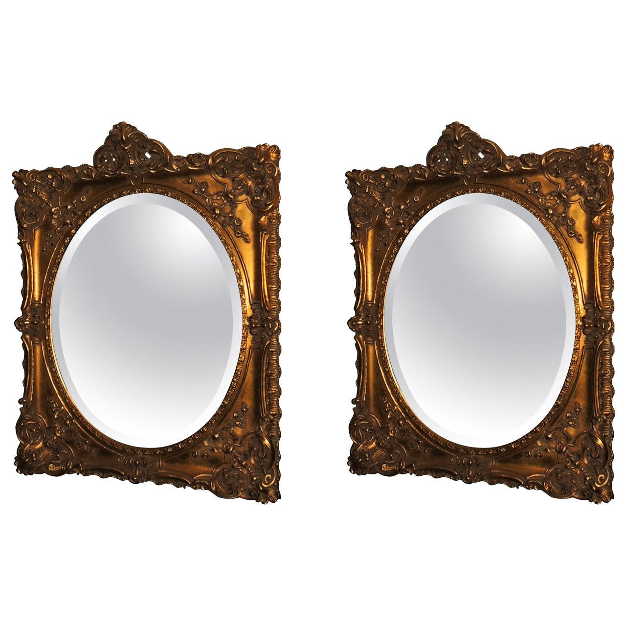 antique oval mirror frame. Elegant Pair Of Antique Oval Bevelled Regal Mirrors In Carved Giltwood Frame For Sale Mirror E