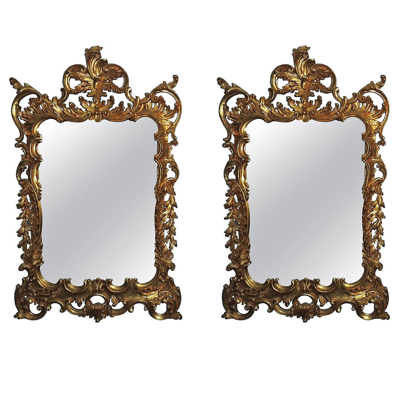 Wonderful Pair of Italian Gilt Carved Wood Rococo Mirrors with Beveled Edges