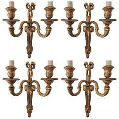 Wonderful Set of Four French Gilt Bronze Wall Sconces in the Style of Caldwell