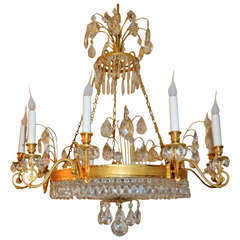 Very Fine French Empire Doré Bronze and Cut Crystal Baltic Chandelier