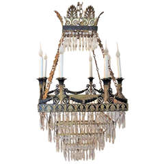 Very Fine Square French Empire Dore Bronze and Patinated Crystal Chandelier
