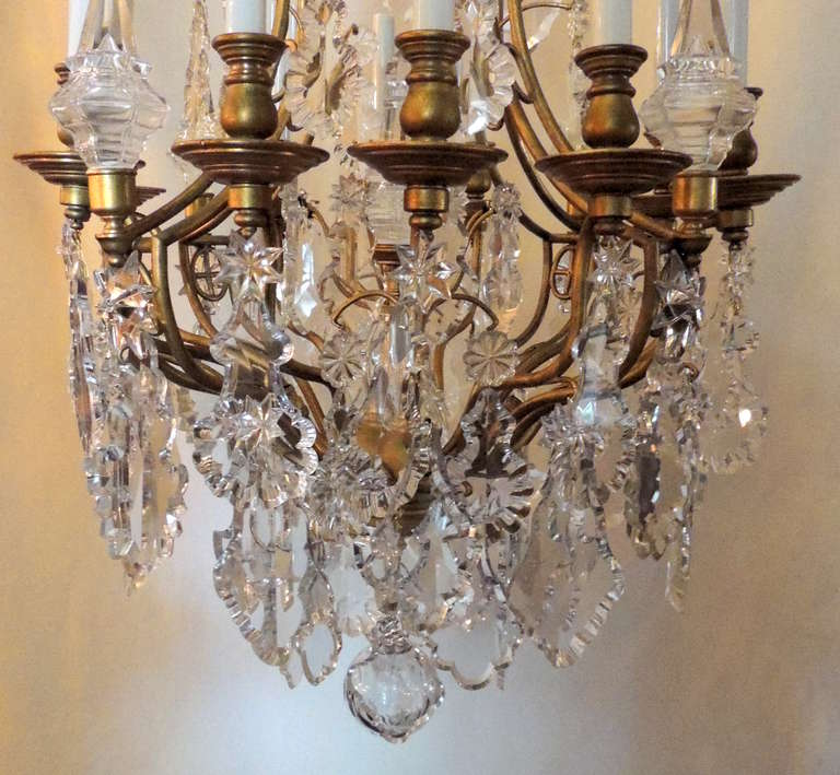 Very Fine French Louis Xv Dore Bronze And Crystal Baccarat