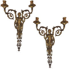 Pair 19th Century French Empire Figural Bronze 2 Arm Wall Sconces Sothebys