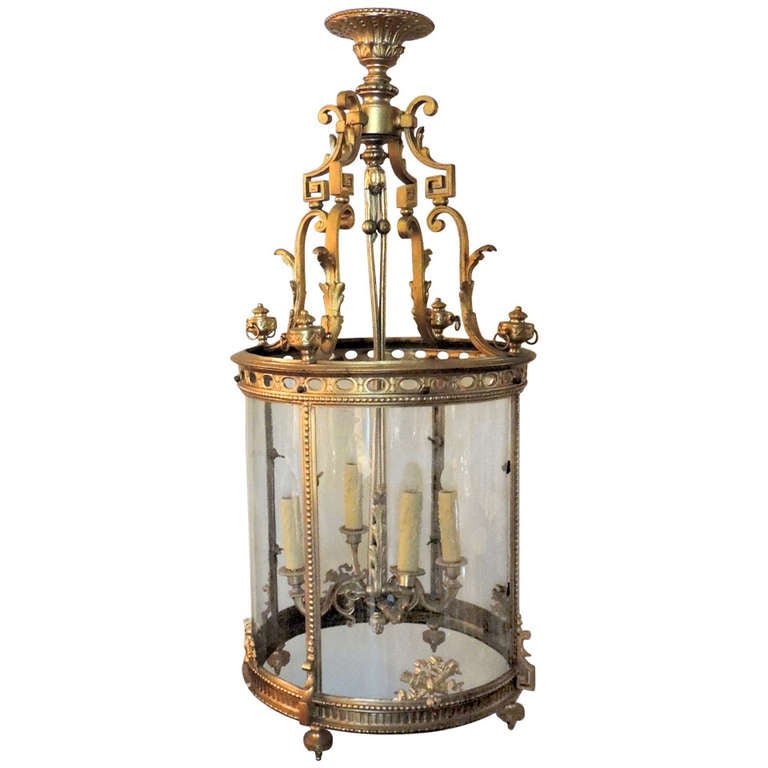 A Very Fine Quality French Dore Bronze Four Light Lantern