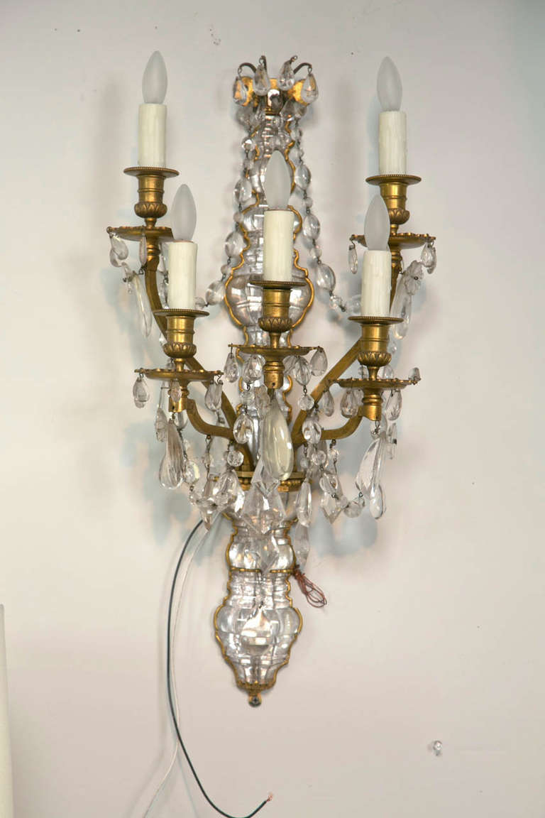 Rock Crystal Wall Sconces : Pair of French Rock Crystal and Dore Bronze Five-Light Bagues Wall Sconces For Sale at 1stdibs
