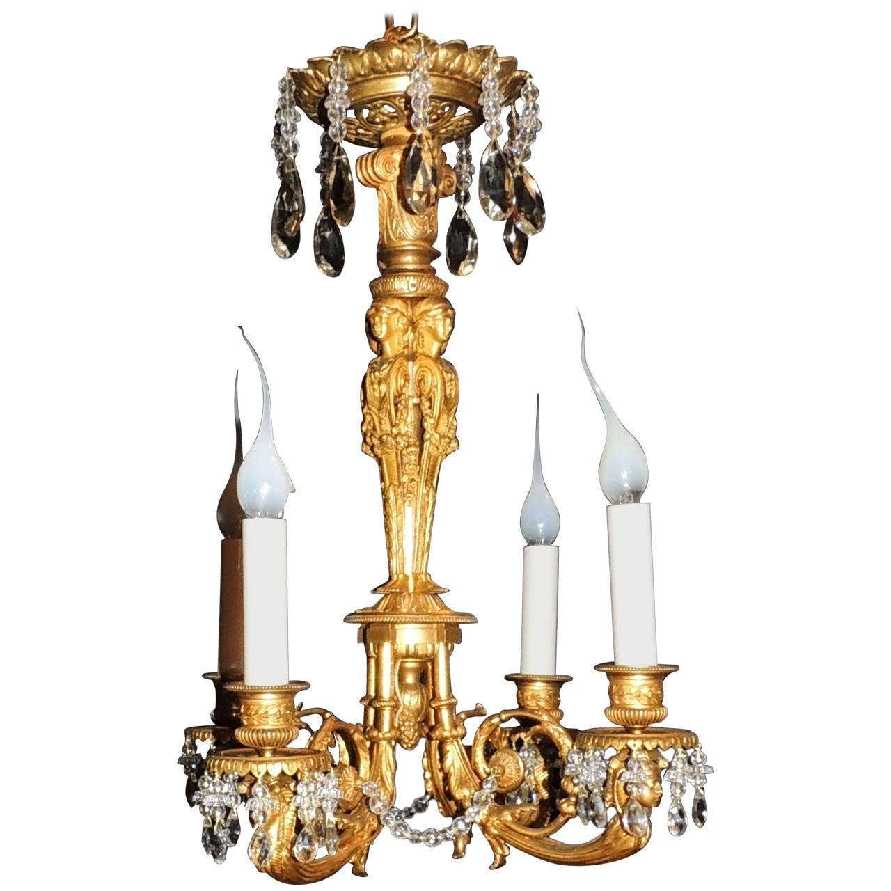 Wonderful French Empire Medusa Doré Bronze Crystal Neoclassic Chandelier