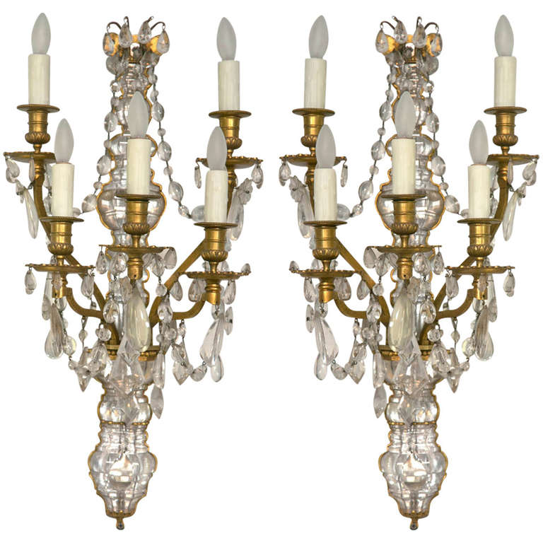 Pair Of Wonderful French Rock Crystal And Dore Bronze, FIve Light Wall Sconces at 1stdibs
