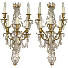 Pair of French Rock Crystal and Dore Bronze Five-Light Bagues Wall Sconces