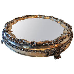 Elegant English 19th Century Sheffield Silver Plate Embellished Mirrored Plateau