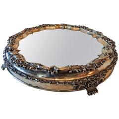 Elegant English 19th Century Sheffield Silver Plate Embellished Mirrored Plateau