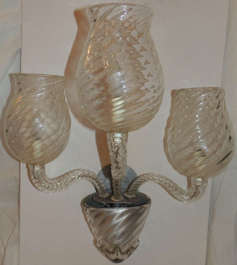 Wall Sconces Art Glass : Wonderful Pair Vintage Murano Art Glass Modern Transitional Large Wall Sconces For Sale at 1stdibs