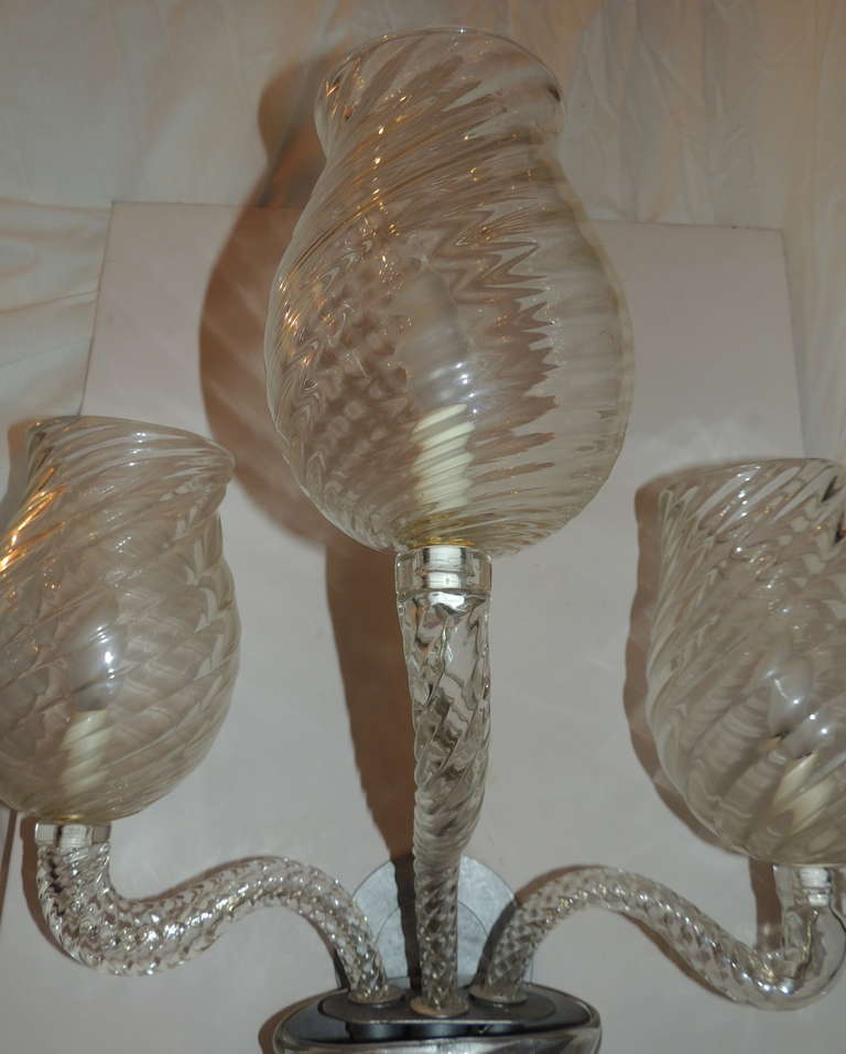 Mid Century Pair Vintage Murano Art Glass Modern Transitional Large Wall Sconces For Sale 2