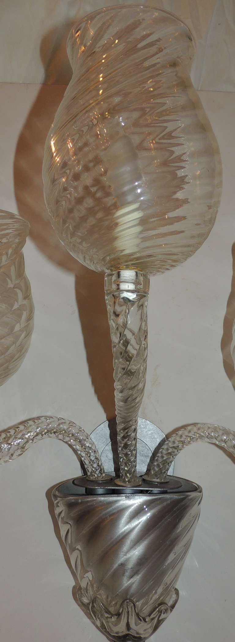Mid Century Pair Vintage Murano Art Glass Modern Transitional Large Wall Sconces For Sale 3