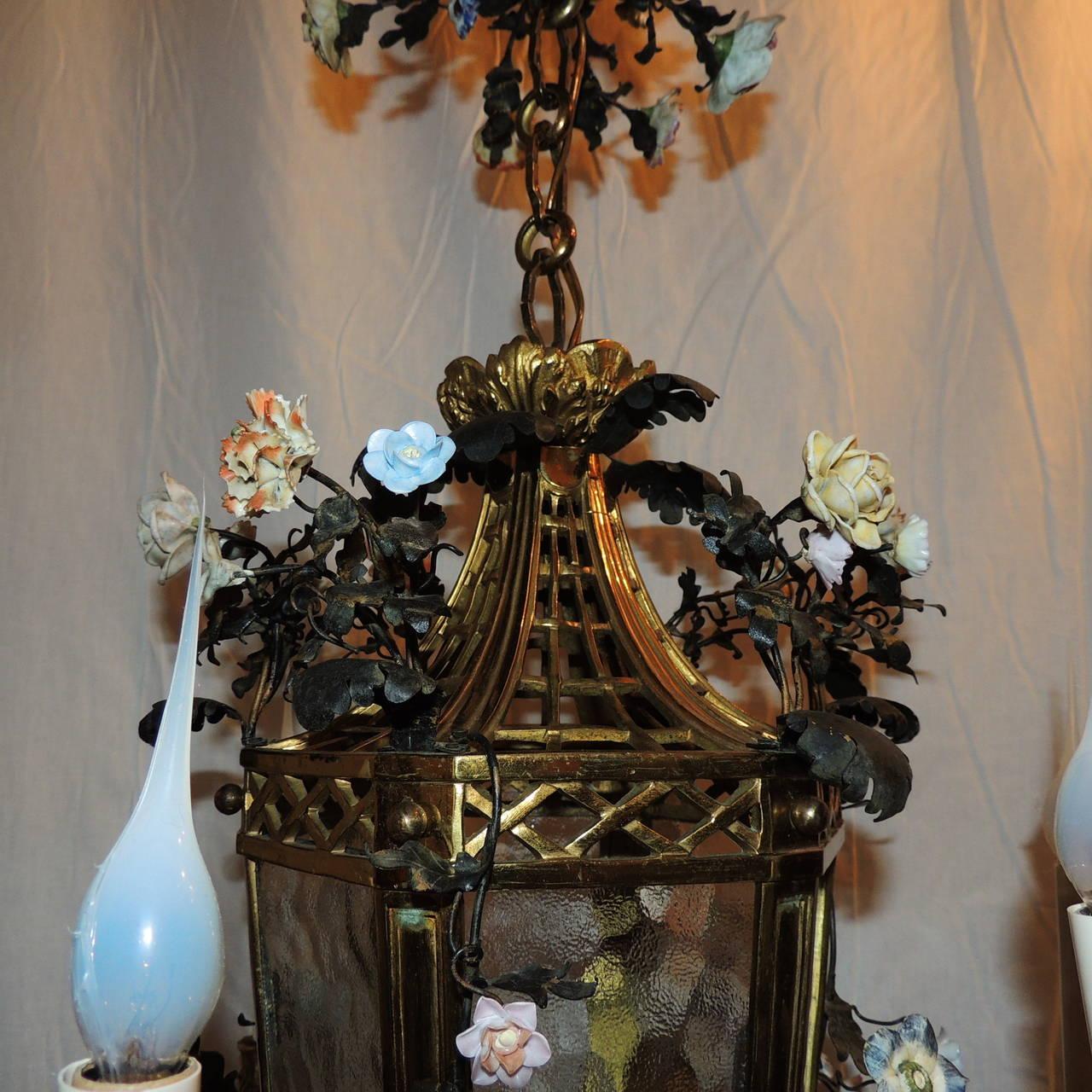 Belle Époque Wonderful French Dore Bronze Five-Light Lantern Chandelier Porcelain Flowers For Sale