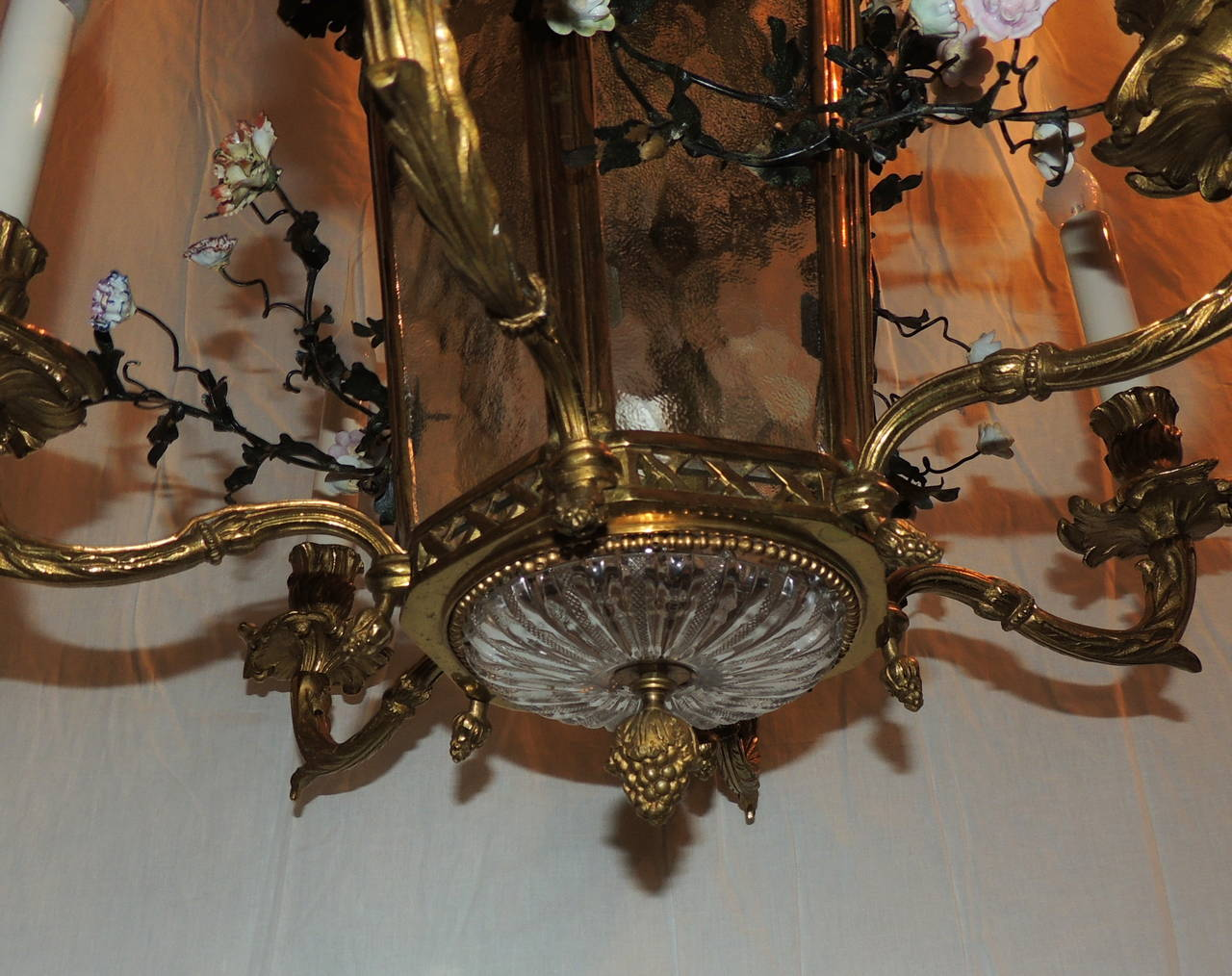 Early 20th Century Wonderful French Dore Bronze Five-Light Lantern Chandelier Porcelain Flowers For Sale