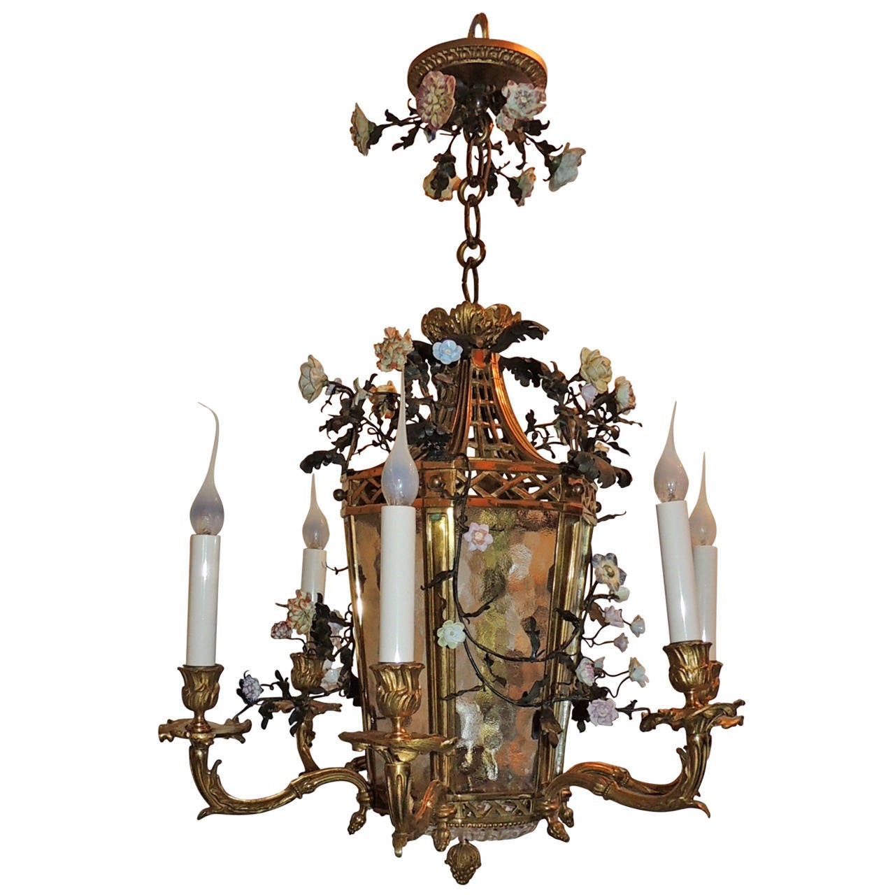 Wonderful French Dore Bronze Five-Light Lantern Chandelier Porcelain Flowers