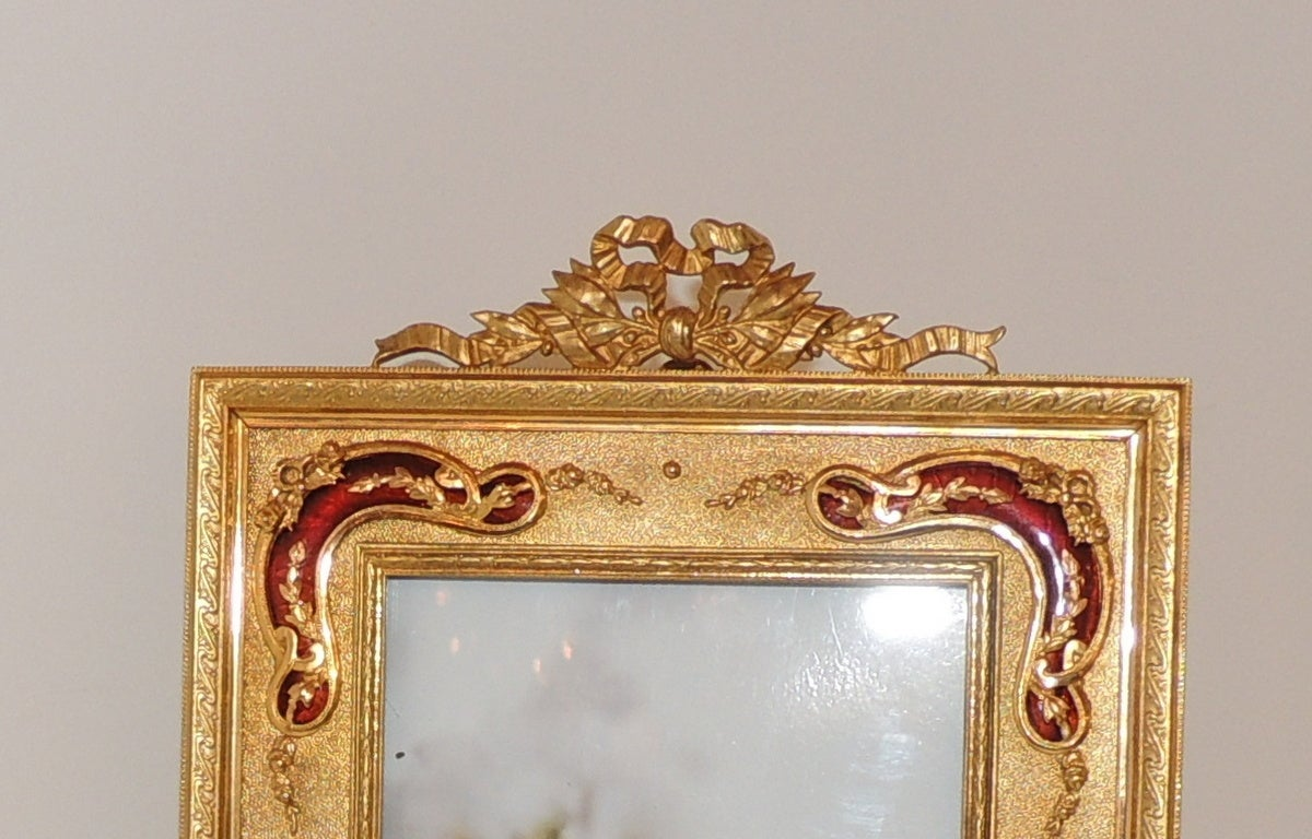 Beautiful French Bronze Bow-Top Picture Frame with Red Enamel Ormolu ...