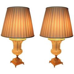 Exceptional Pair of French Doré Bronze and Cut-Crystal Ormolu Urn Form Lamps