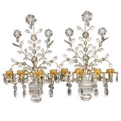 Transitional Pair of Gilt Rock Crystal Baguès Flowers Candelabra Sconces