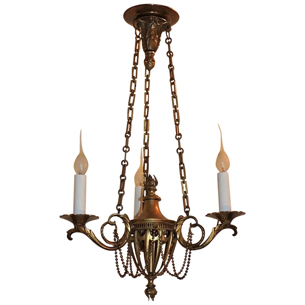 Neoclassical Three-Arm French Bronze Swag and Scroll-Arm Chandelier