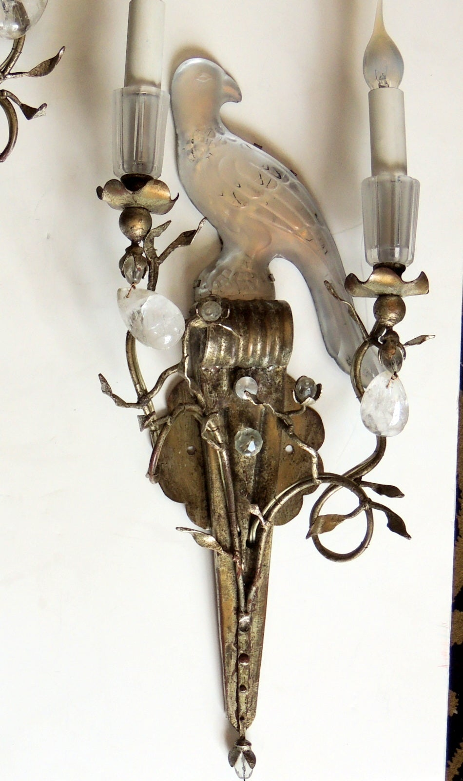 Crystal Bird Wall Sconces : Pair of Vintage Crystal Bagues Silver Gilt Rock Crystal Bird Sconces at 1stdibs