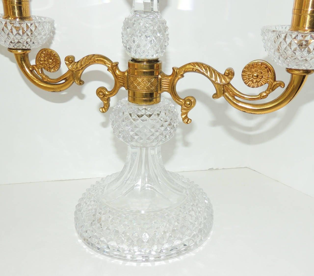 Faceted Elegant Pair of French Cut Crystal Doré Bronze Ormolu Candelabras For Sale