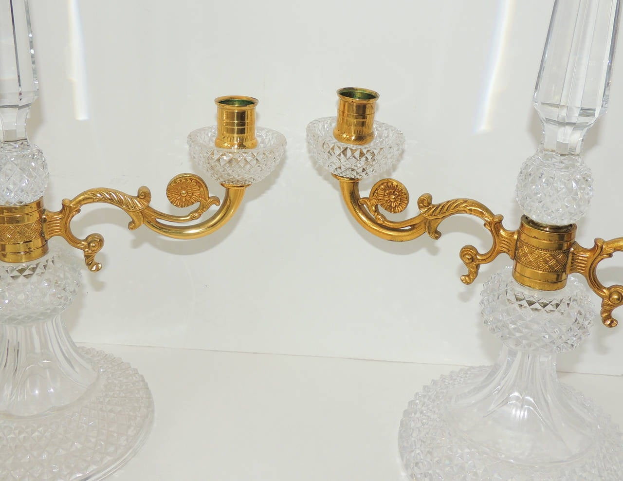 Elegant Pair of French Cut Crystal Doré Bronze Ormolu Candelabras In Good Condition For Sale In Roslyn, NY