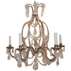 Elegant Baguès Beaded Italian Entire Rock Crystal Rosette Prisms Chandelier