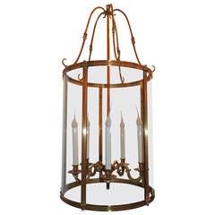 Elegant Dore Etched Bronze Louis XVI Large Lantern Fixture Curved Glass Panels