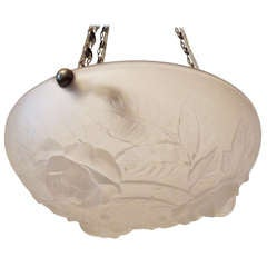 Wonderful Art Deco Glass and Silvered Bronze Bowl Fixture