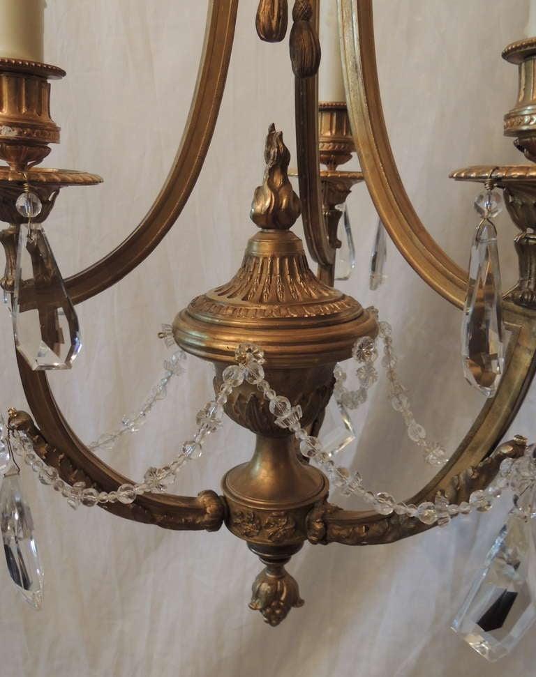 Gilt Elegant French Empire Doré Bronze Crystal Three-Light Fixture Chandelier For Sale
