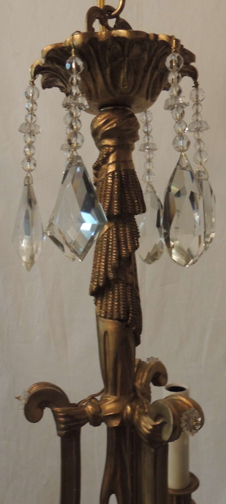 Elegant French Empire Doré Bronze Crystal Three-Light Fixture Chandelier For Sale 1