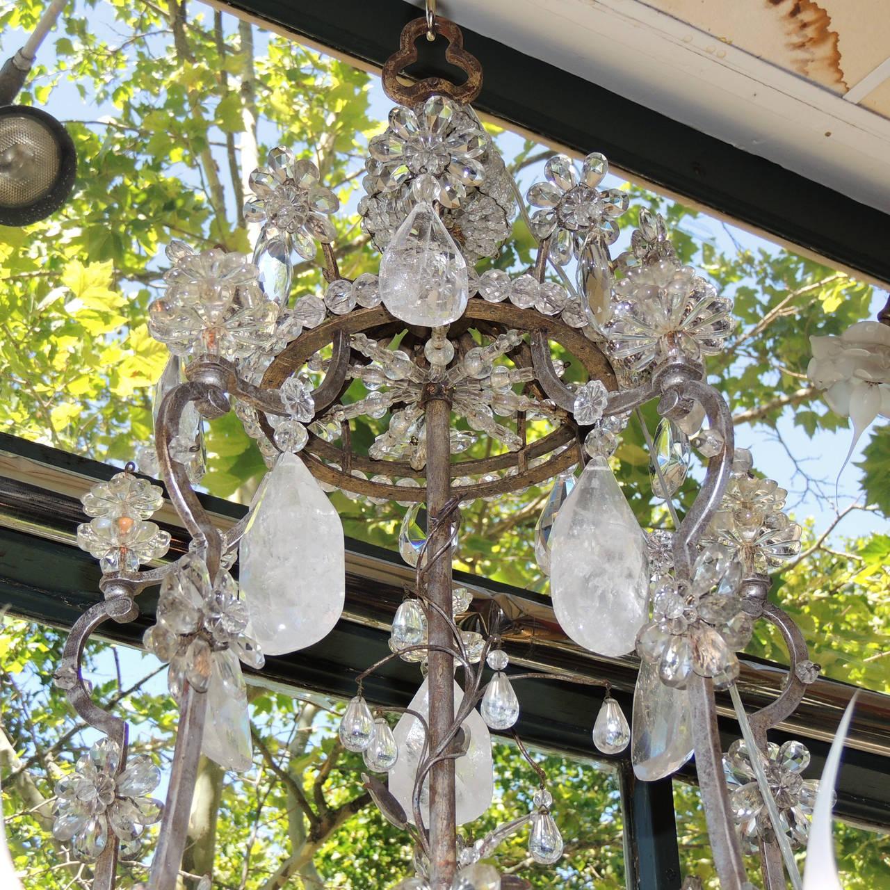 Incredible Maison Baguès Silver Rock Crystal Floral Centre Chandelier Fixture For Sale 1