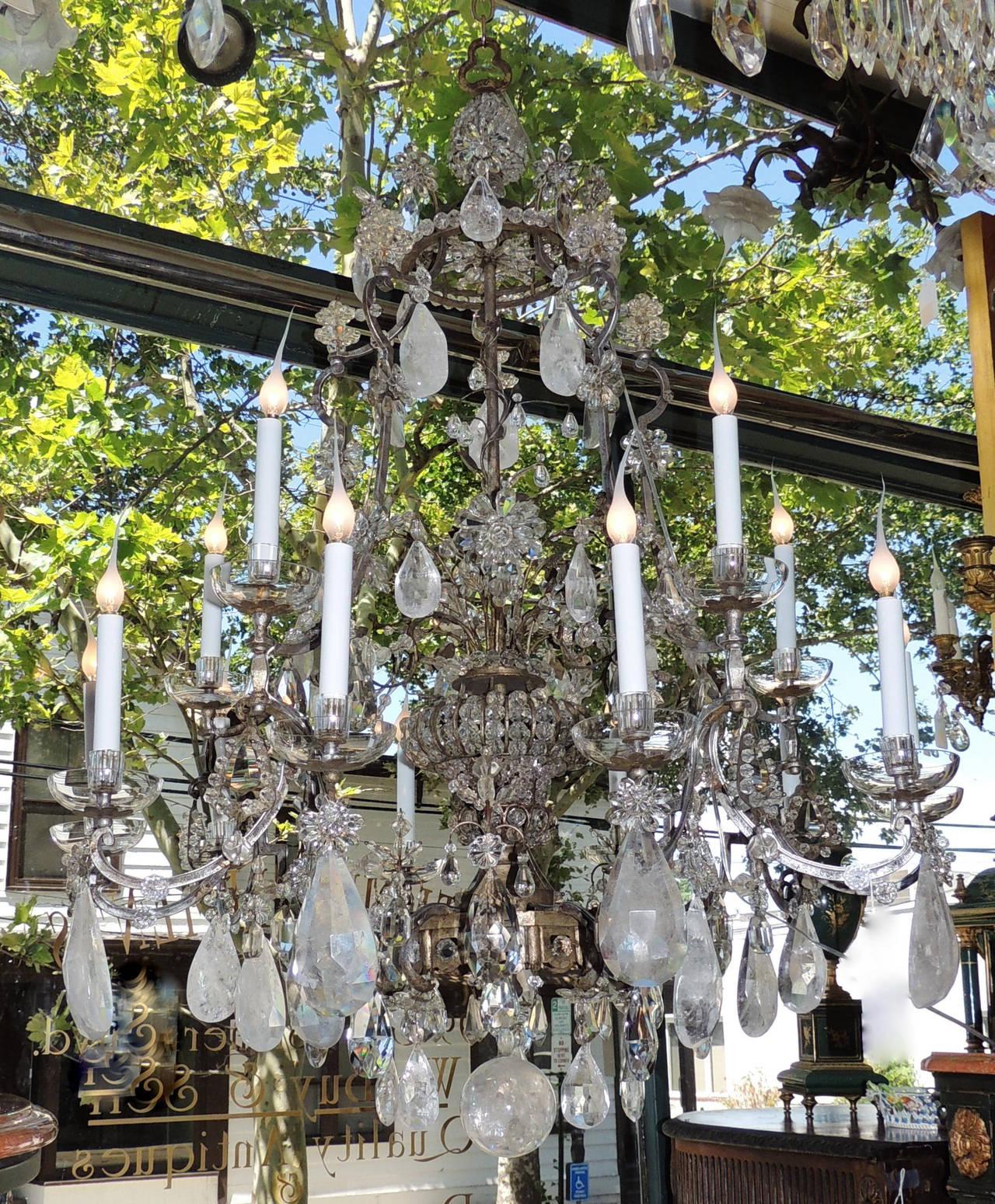 Incredible Maison Baguès Silver Rock Crystal Floral Centre Chandelier Fixture For Sale 2