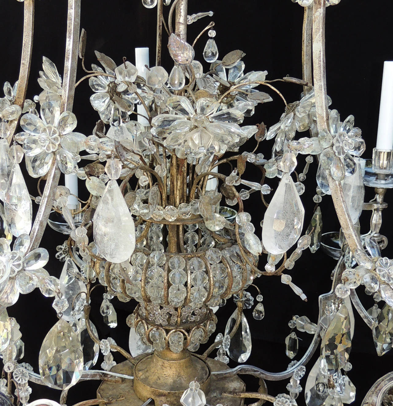 Incredible Maison Baguès Silver Rock Crystal Floral Centre Chandelier Fixture In Good Condition For Sale In Roslyn, NY